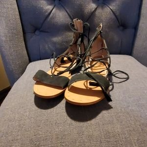 Lace up gladiator sandals in suede
